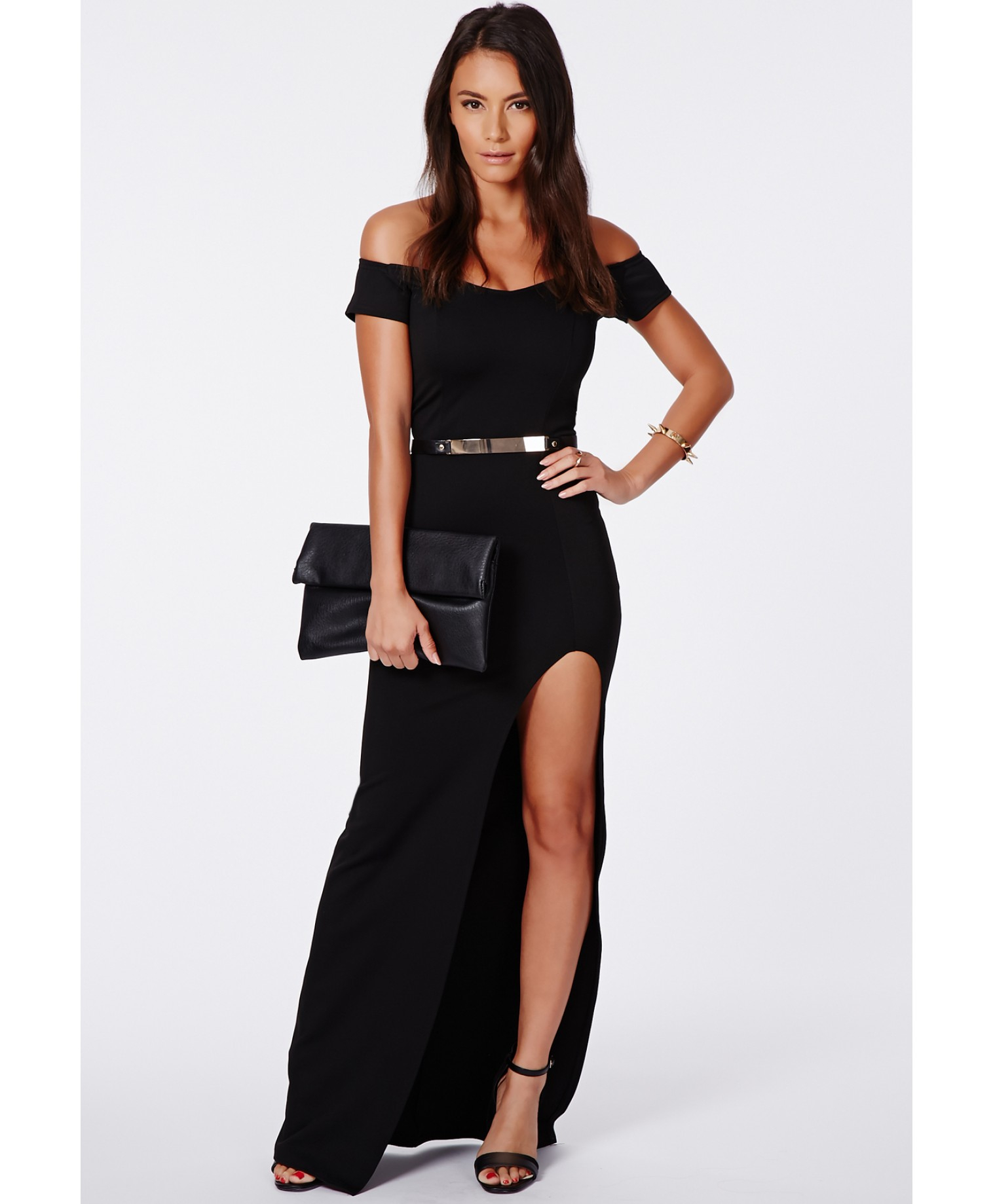 Black long sleeve maxi dress with thigh split skirt