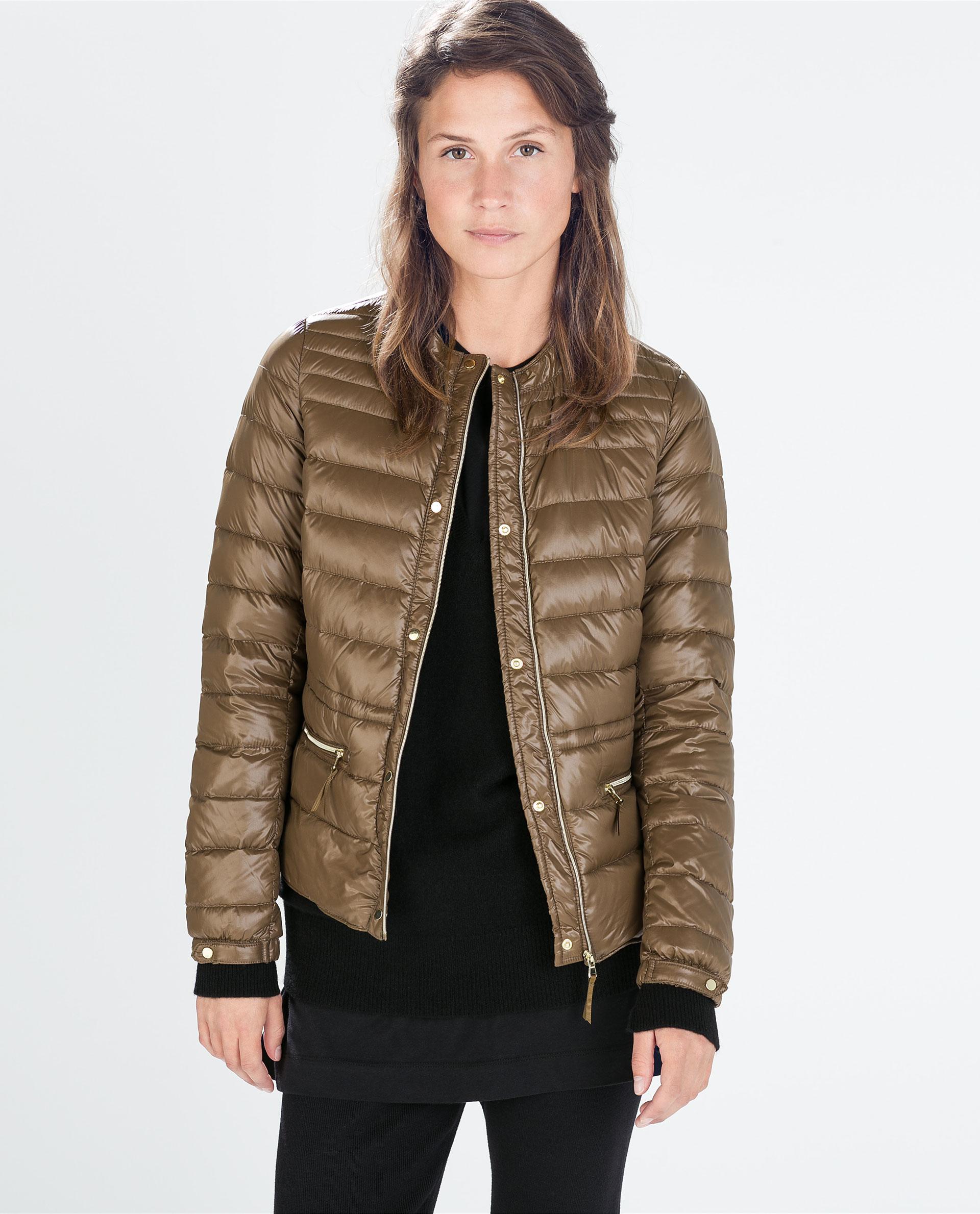 Zara Ultralight Short Down Jacket in Orange | Lyst