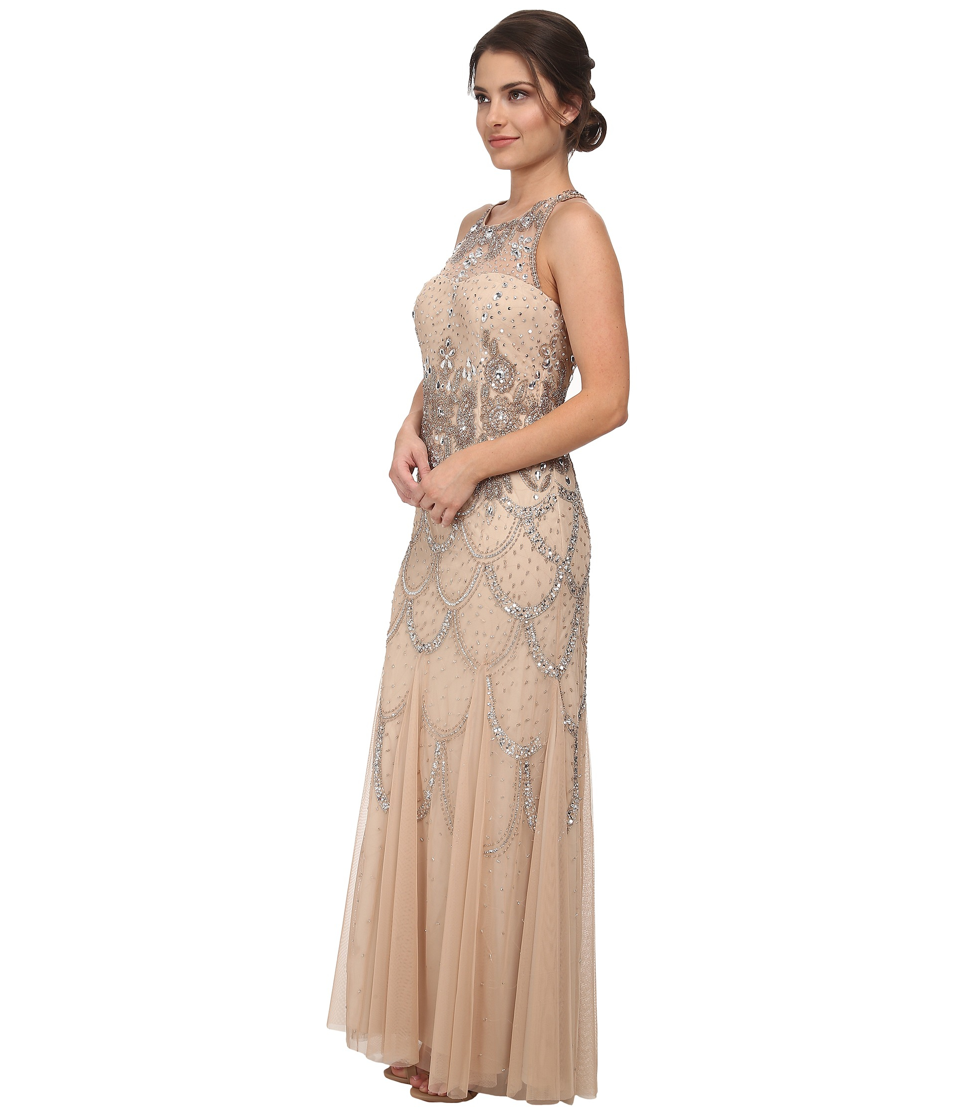 Lyst - Adrianna Papell Halter Fully Beaded Gown in Metallic