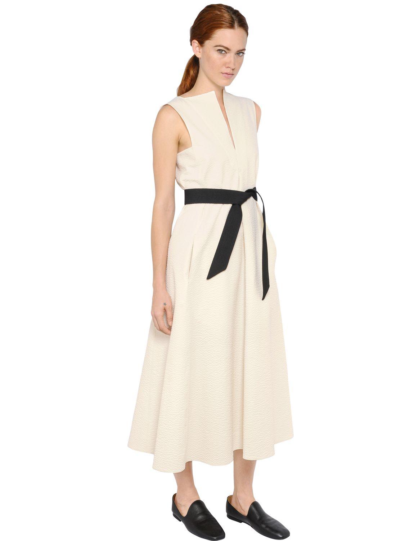 Christophe lemaire Sleeveless Cotton Seersucker Dress in White | Lyst