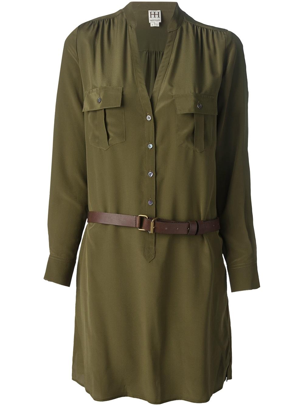haute hippie belted shirt dress in green lyst