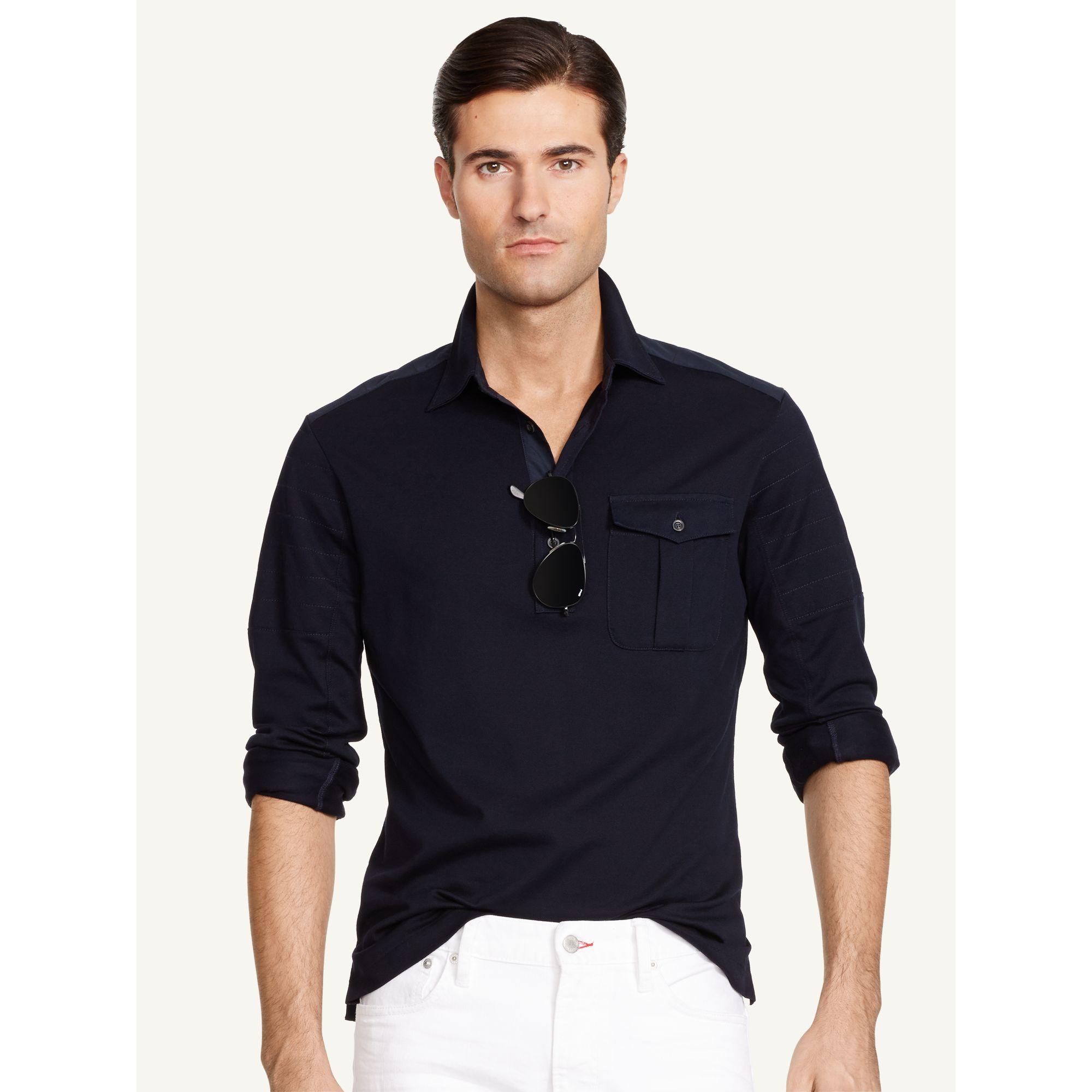 Lyst ralph lauren black label military inspired polo for Ralph lauren black label polo shirt