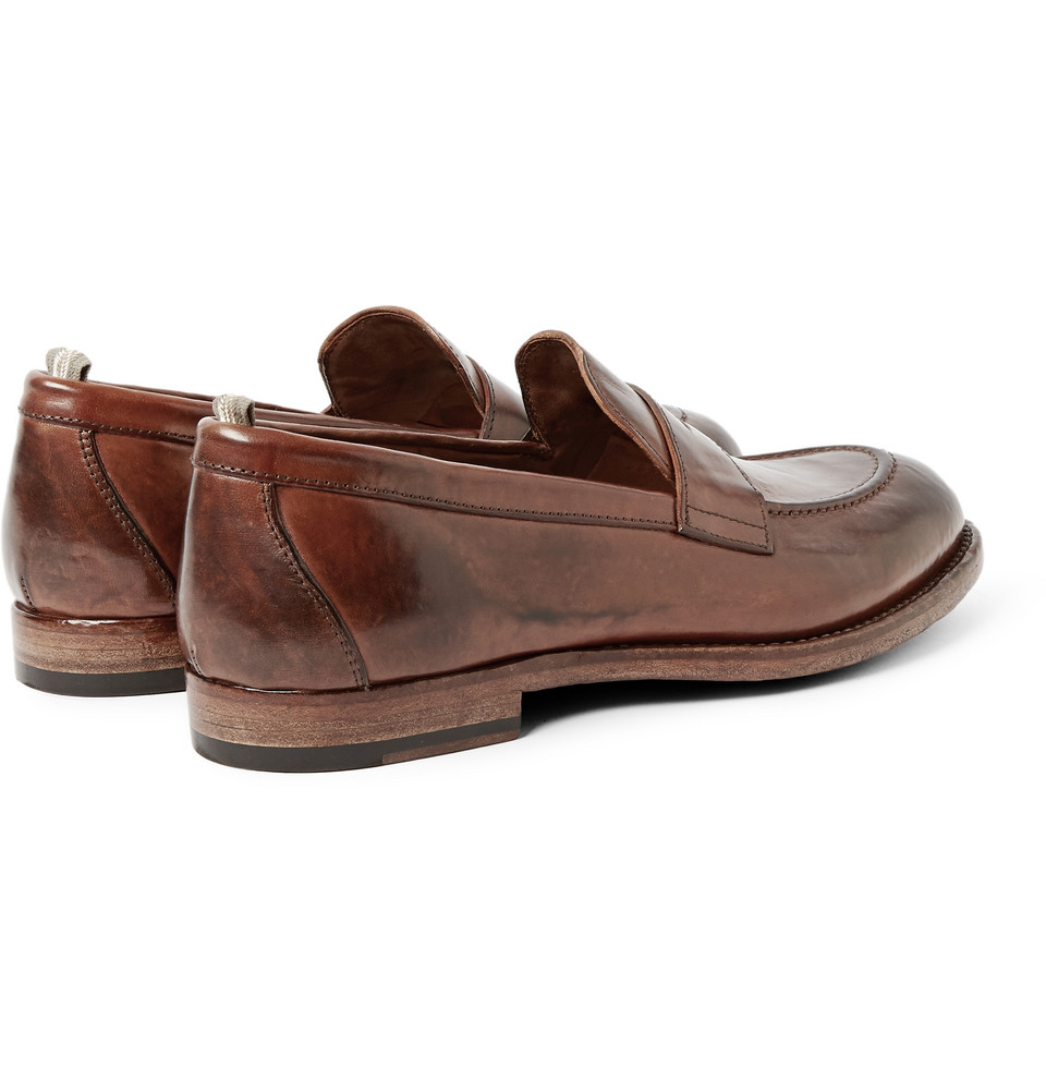 861537a7d52 Lyst - Officine Creative Ivy Washed-Leather Penny Loafers in Brown ...