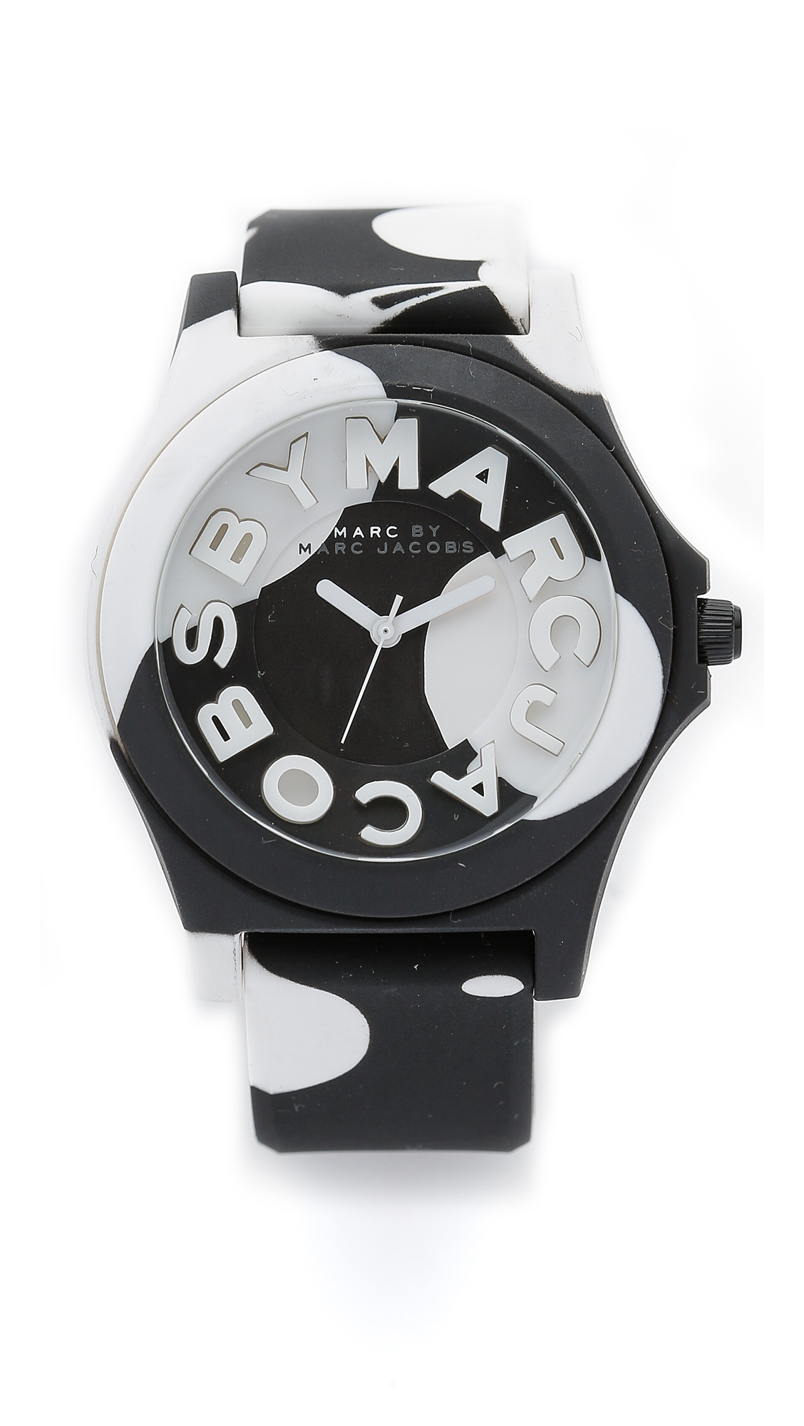 cd2ef71646a Lyst - Marc By Marc Jacobs Sloane Watch - Black white Oil Drop in Black