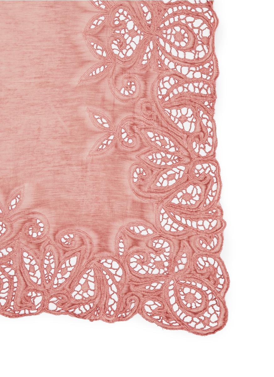 Lyst faliero sarti 39 atene 39 lace border cotton silk scarf for Border lace glam