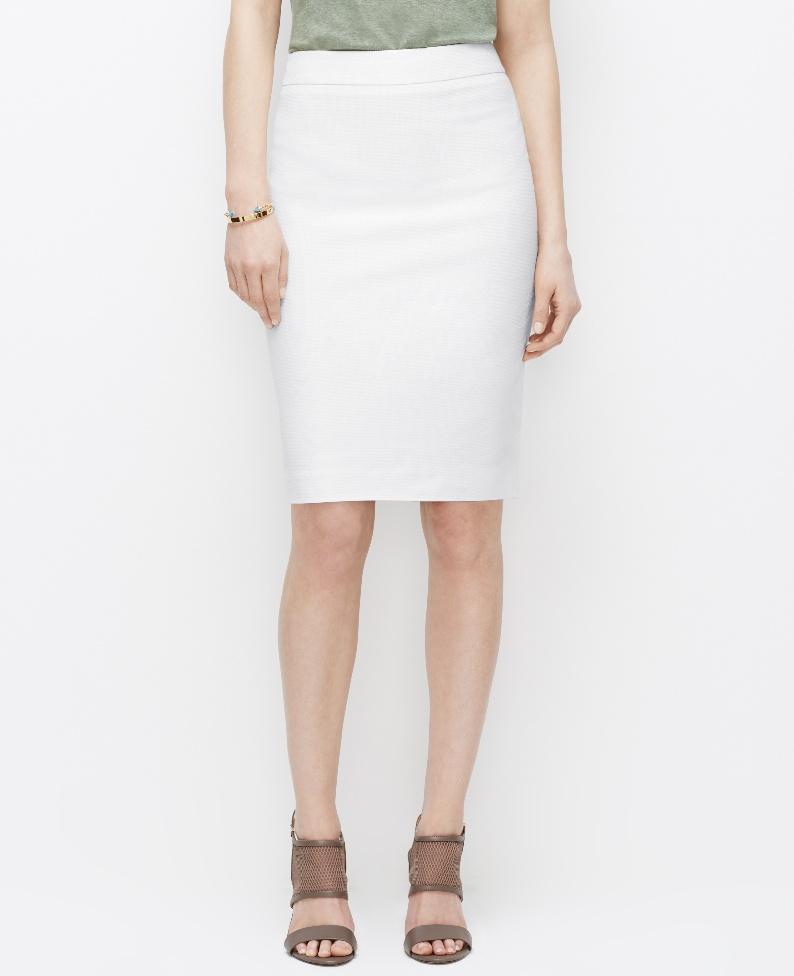 textured pencil skirt in white lyst