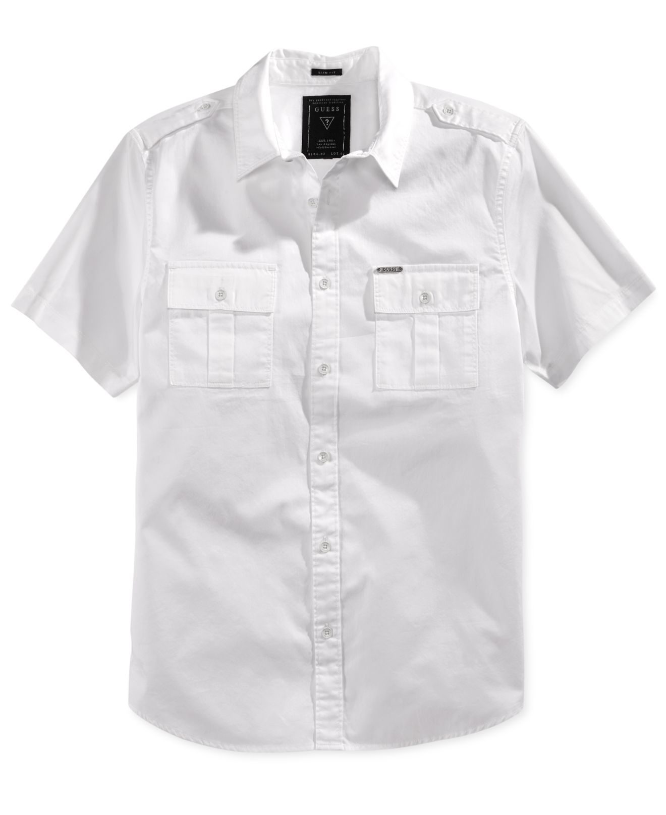 Lyst guess men 39 s cypress short sleeve military shirt in for Mens short sleeve white dress shirt