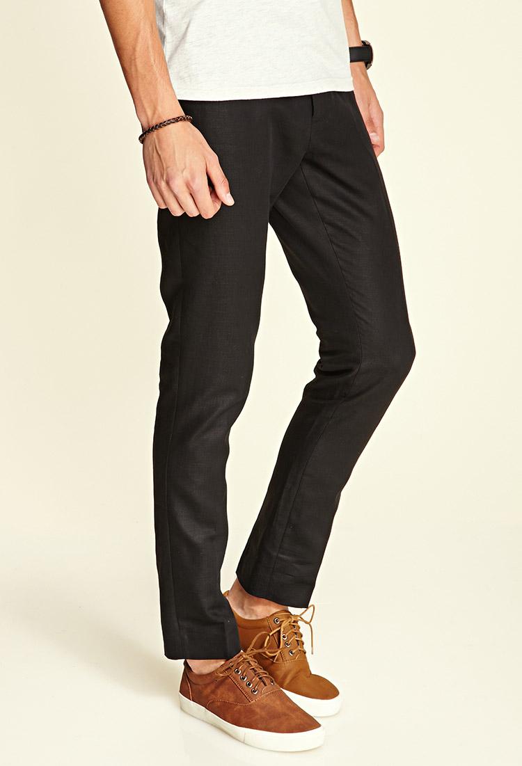 Forever 21 Linen-blend Pants in Black for Men | Lyst