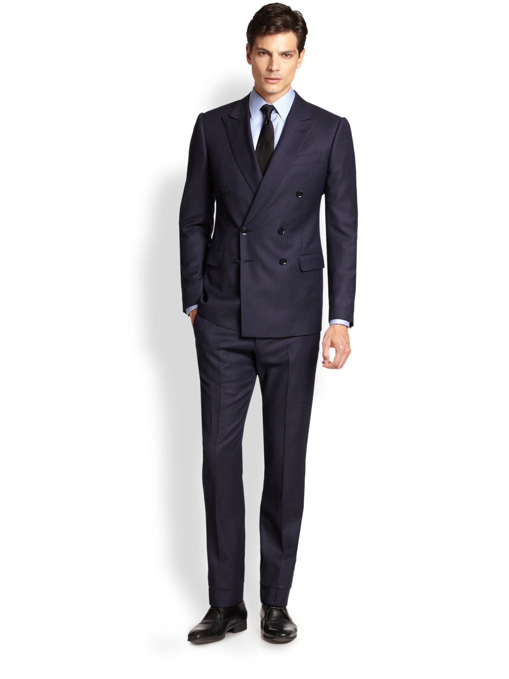 Armani Double-Breasted Pinstripe Suit in Blue for Men | Lyst