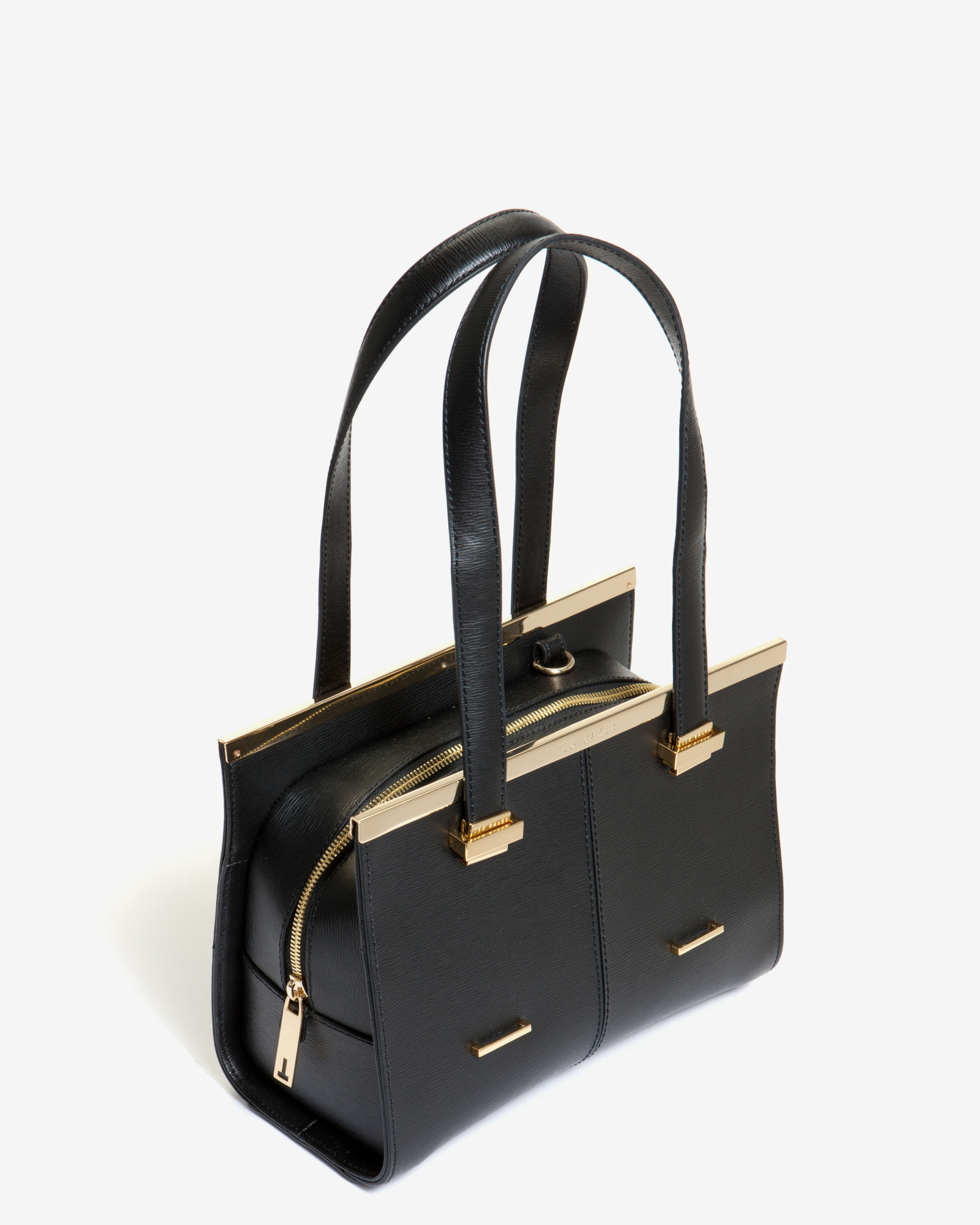 Ted baker Small Crosshatch Leather Tote Bag in Black | Lyst