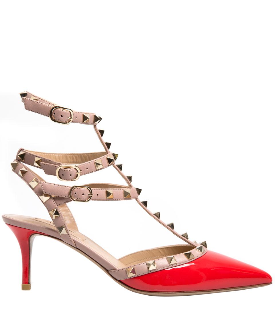 Womens Heels Low Price 70224977 Valentino Rockstud Leather Mid Heel Deep Orange