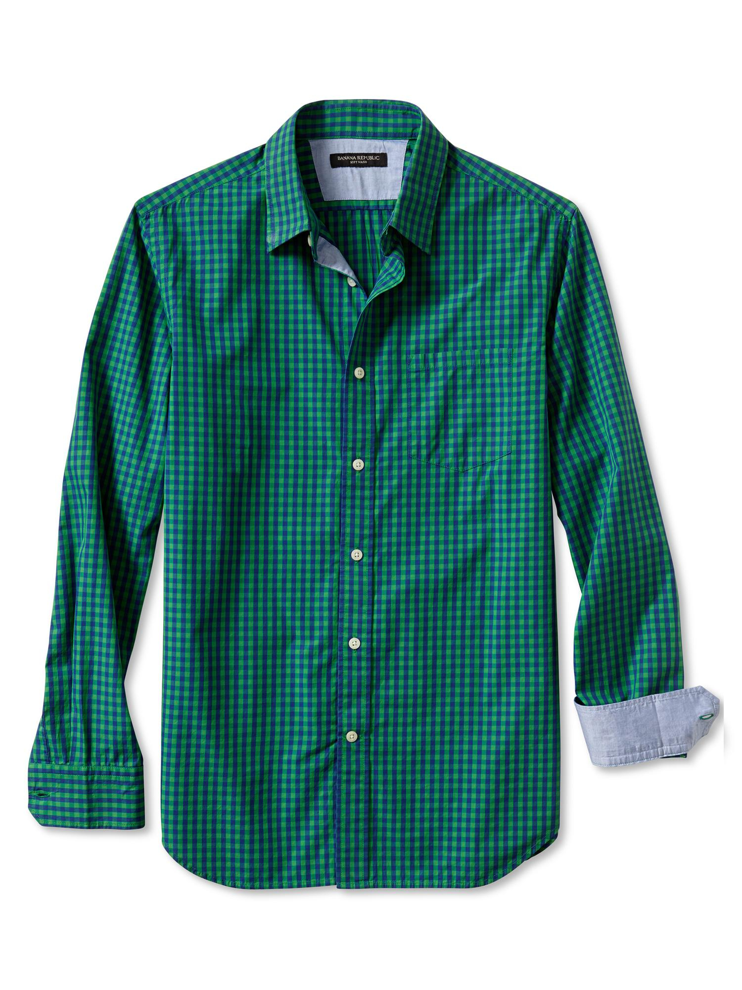 Banana republic slim fit soft wash emerald shirt emerald Emerald green mens dress shirt