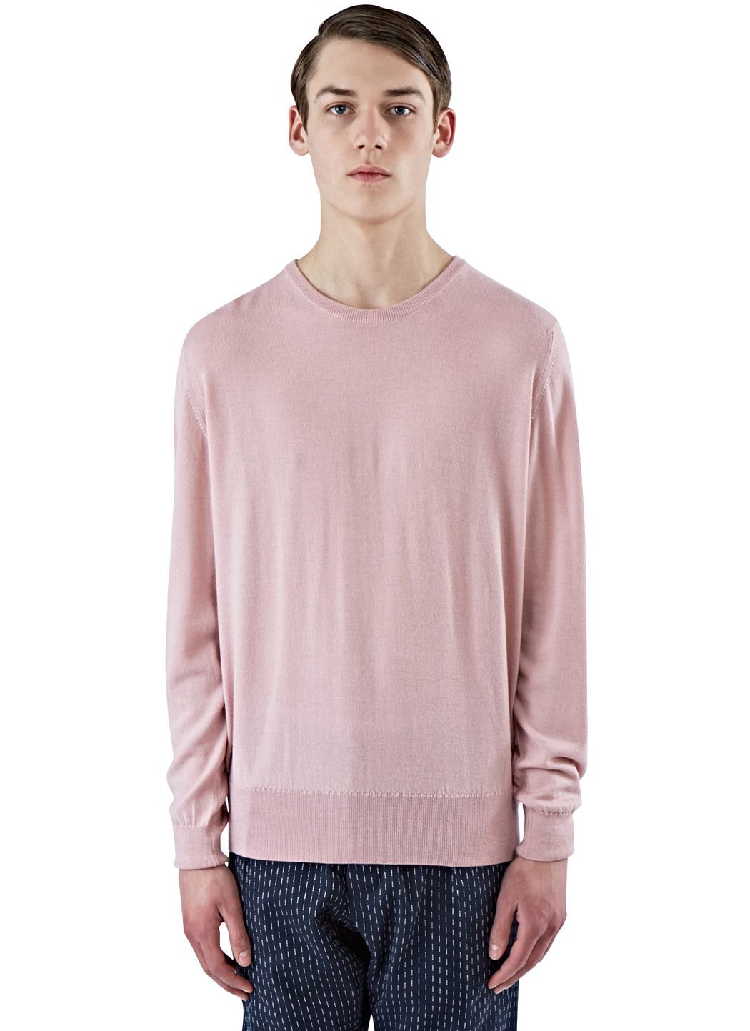 E. tautz Men's Fine Gauge Knit Crew Neck Sweater In Pink in Pink ...