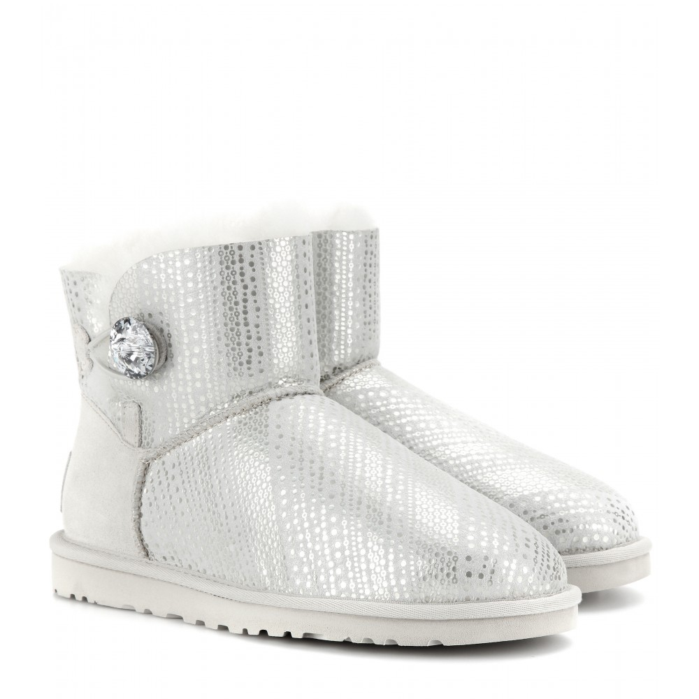 ugg mini bailey button boots grey