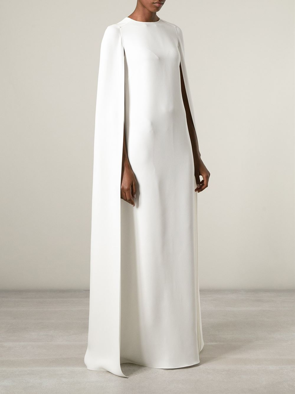 Lyst - Valentino Cape-Style Evening Dress in White