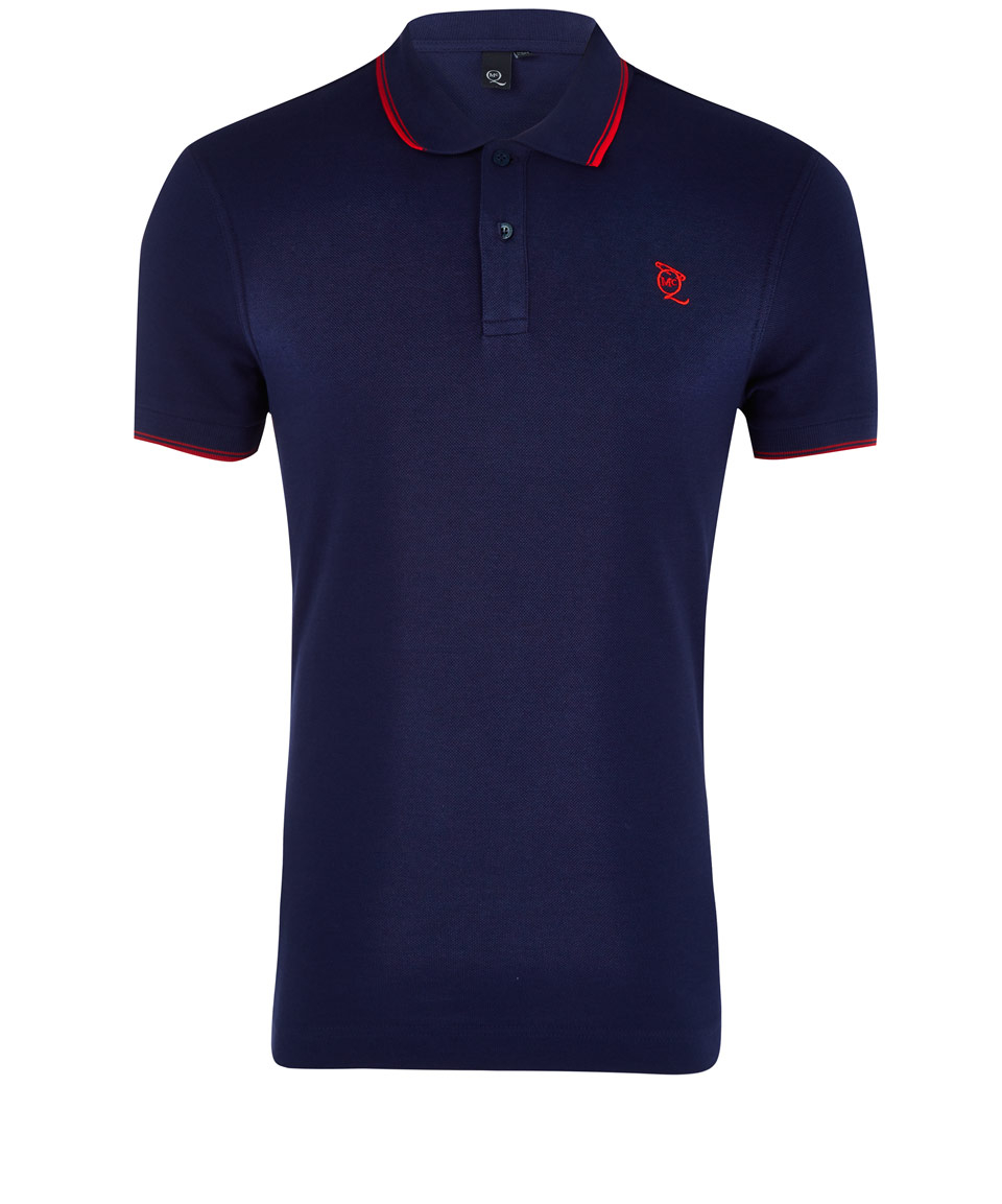 Mcq navy logo cotton polo shirt in blue for men lyst for Cotton polo shirts with logo
