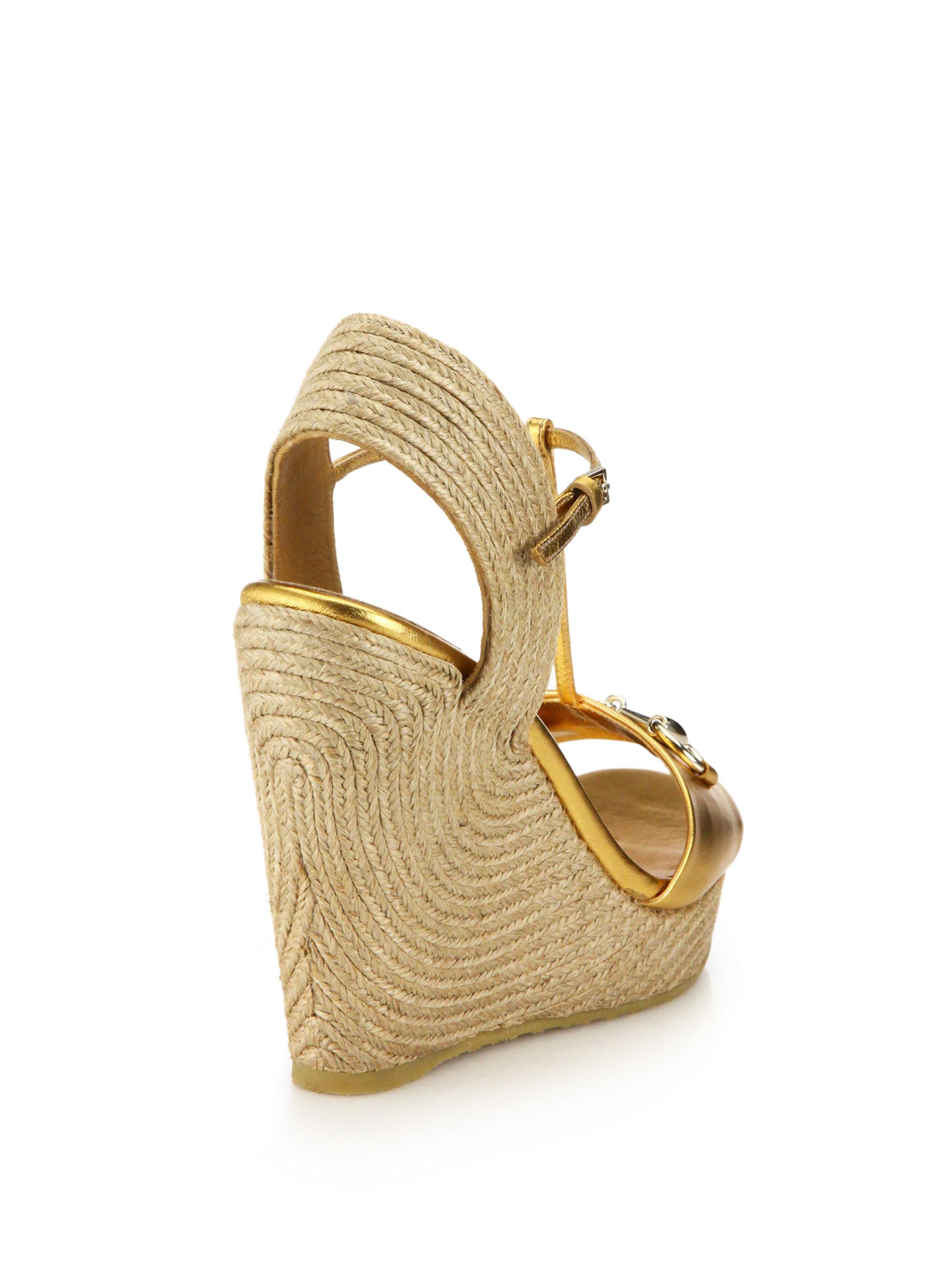 4c730b08f29 Lyst - Gucci Metallic Leather Horsebit Espadrille Wedge Sandals in ...