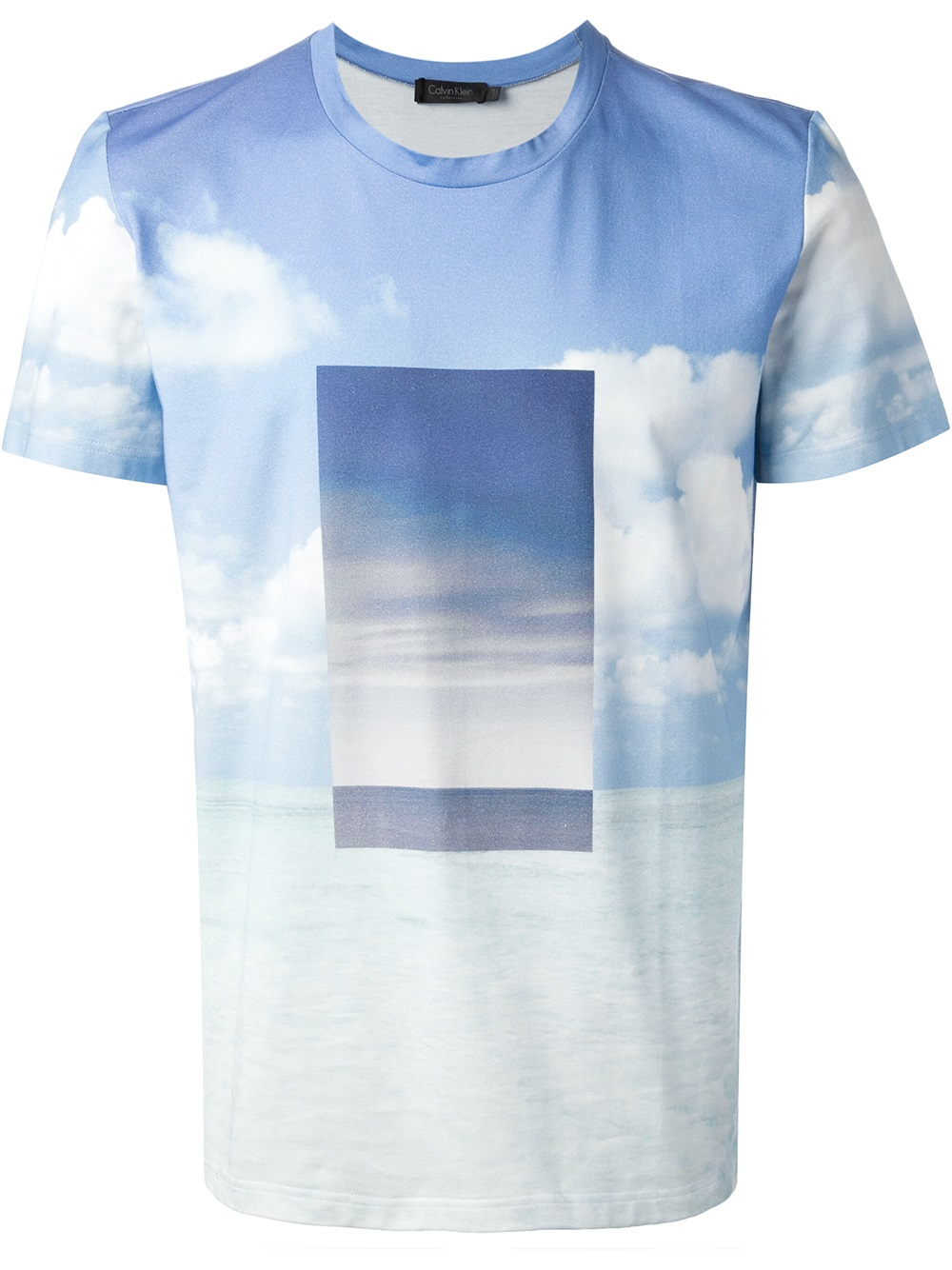 lyst calvin klein scenic print tshirt in blue for men. Black Bedroom Furniture Sets. Home Design Ideas