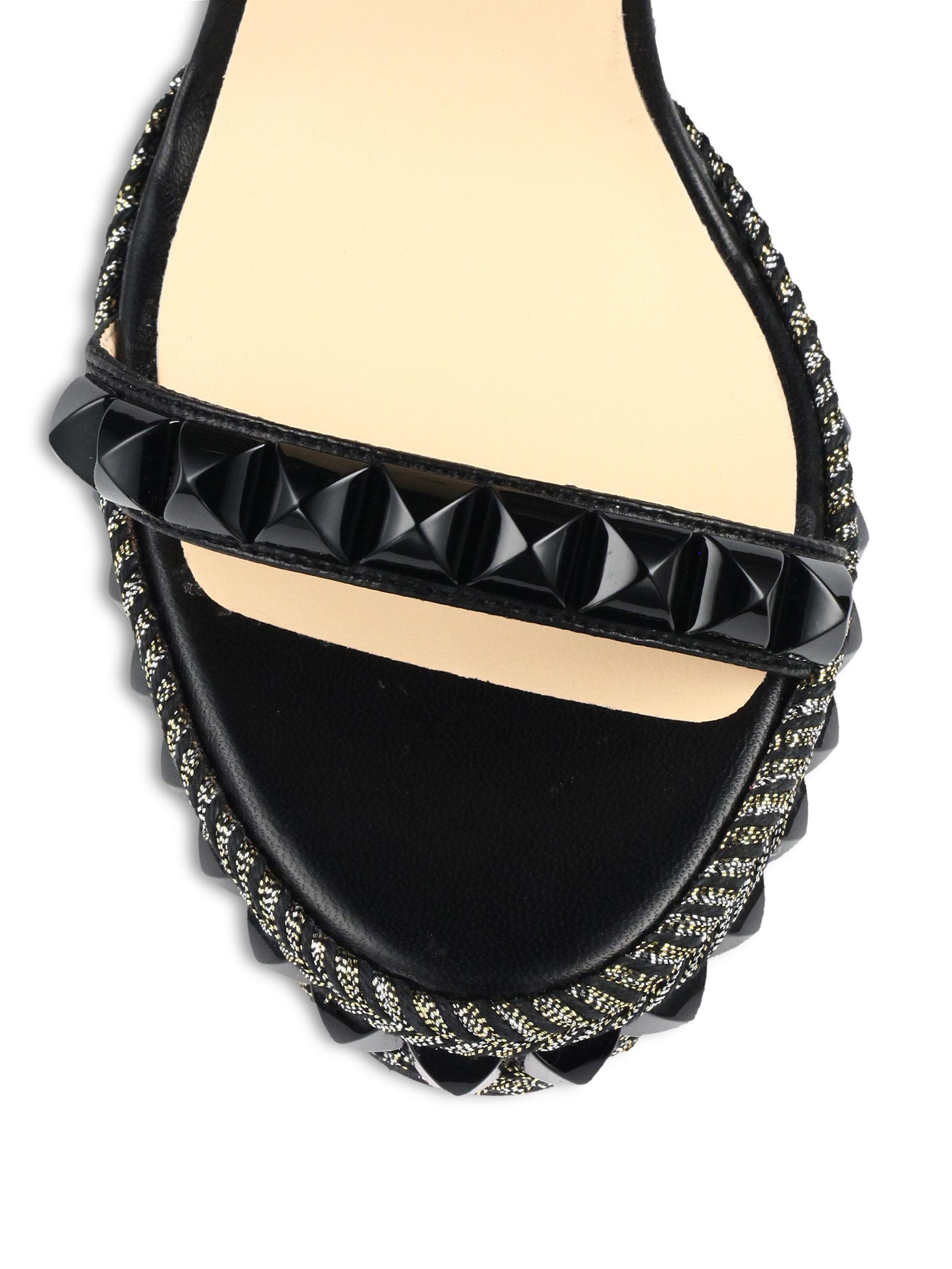 Christian louboutin Cataclou Studded Leather Espadrille Wedge ...