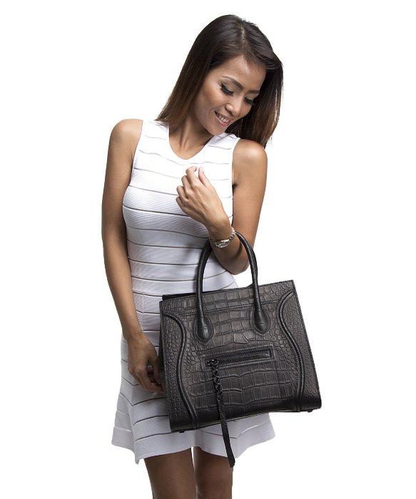 C��line Preowned Black Croc Embossed Leather Small Phantom Tote Bag ...