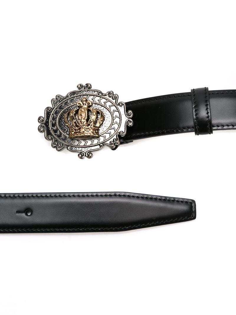 7951b45f20 ... good lyst dolce gabbana crown buckle belt in black for men 15f18 9714c
