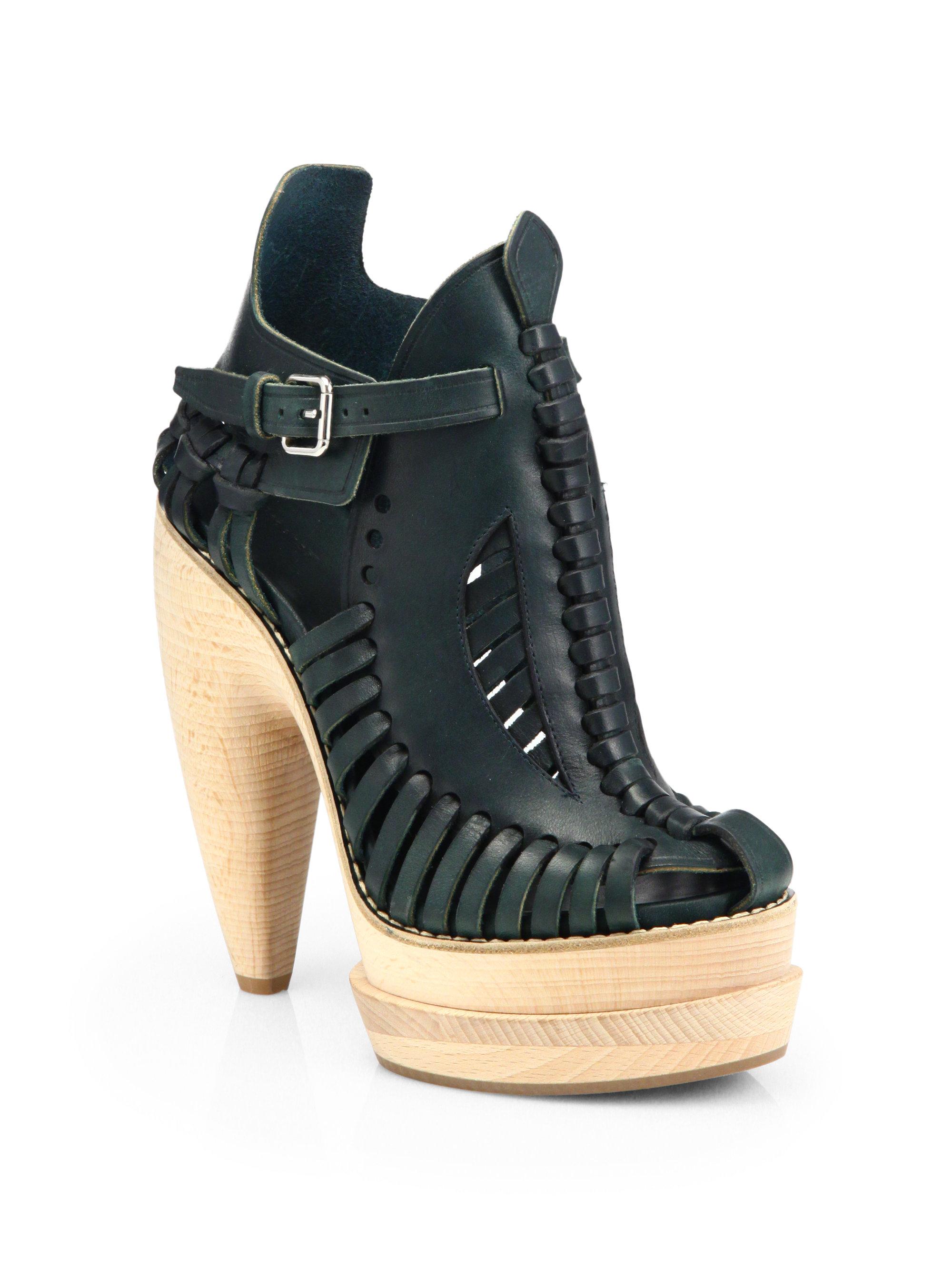 Proenza Schouler Runway Leather Wooden Platform Sandals in Black