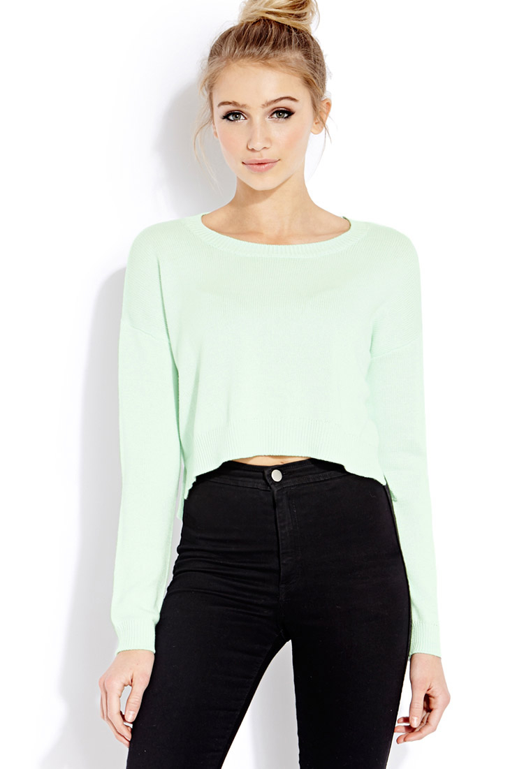 Forever 21 Drop-Sleeve Cropped Sweater in Green | Lyst