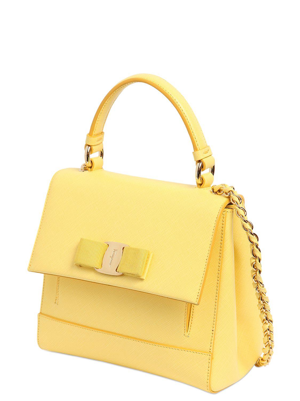 72ae11575e Ferragamo Small Carrie Saffiano Leather Bag in Yellow - Lyst