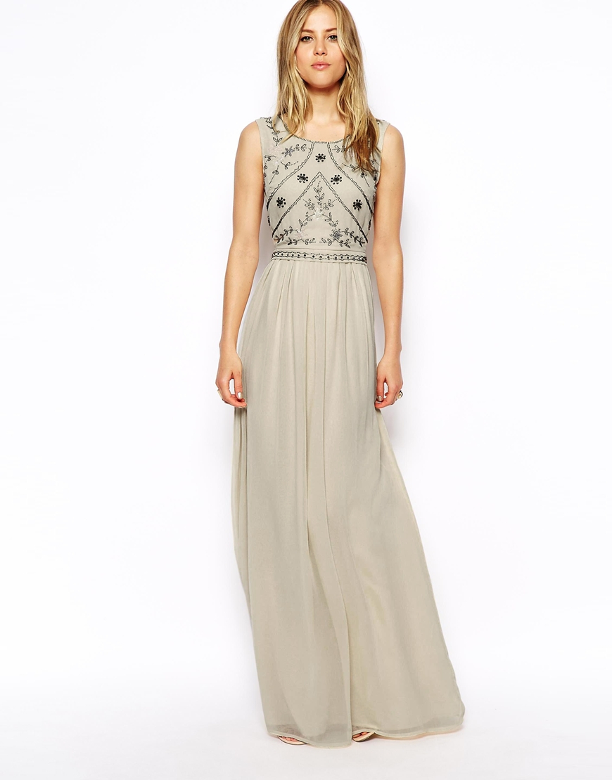 asos embellished shell maxi dress in gray grey lyst. Black Bedroom Furniture Sets. Home Design Ideas