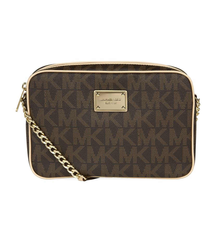 Michael Kors Crossbody Laukut : Michael kors jet set logo crossbody bag in brown