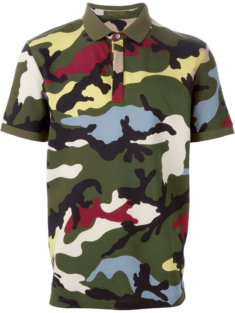 lyst valentino rockstud camouflage polo shirt in green