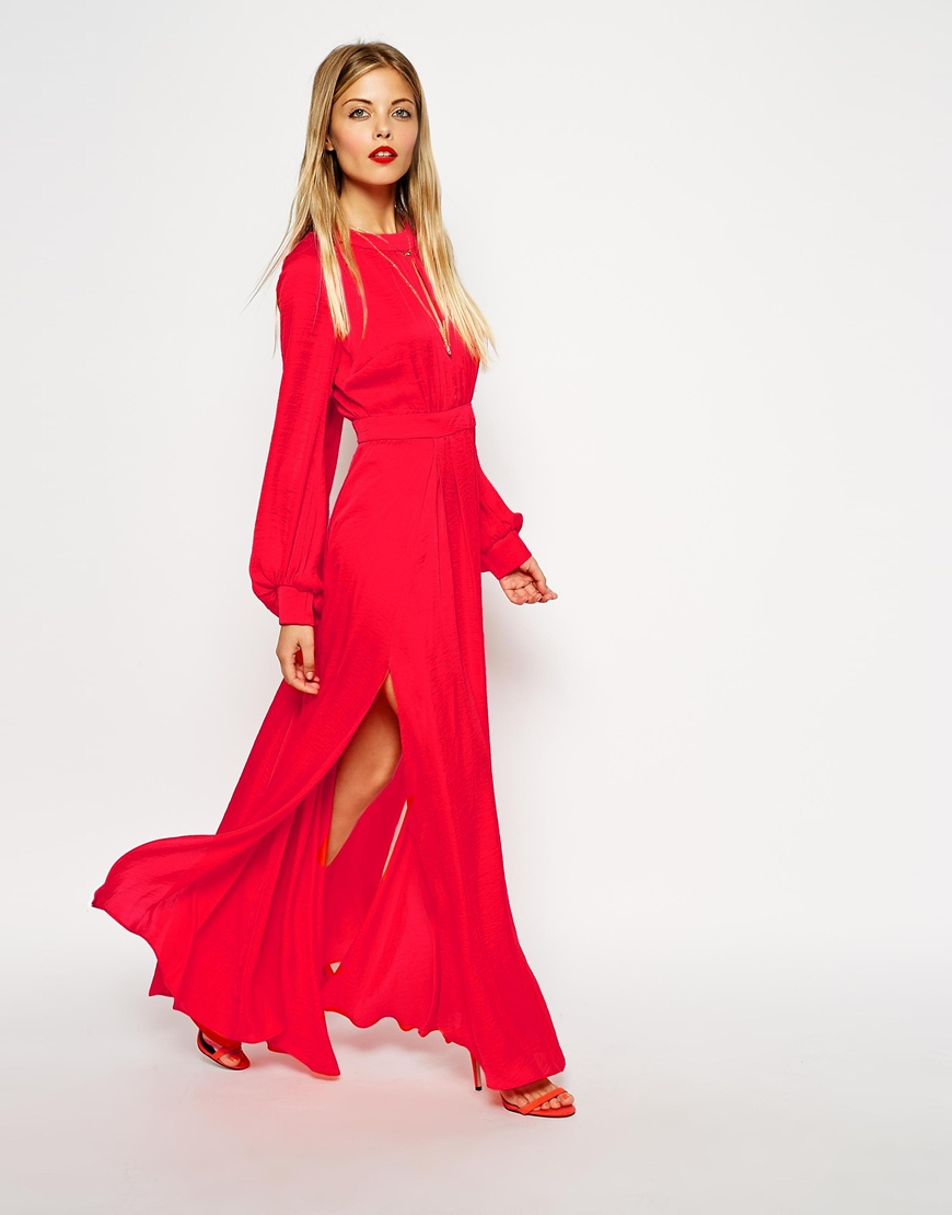 asos kaftan pleated maxi dress in red lyst. Black Bedroom Furniture Sets. Home Design Ideas
