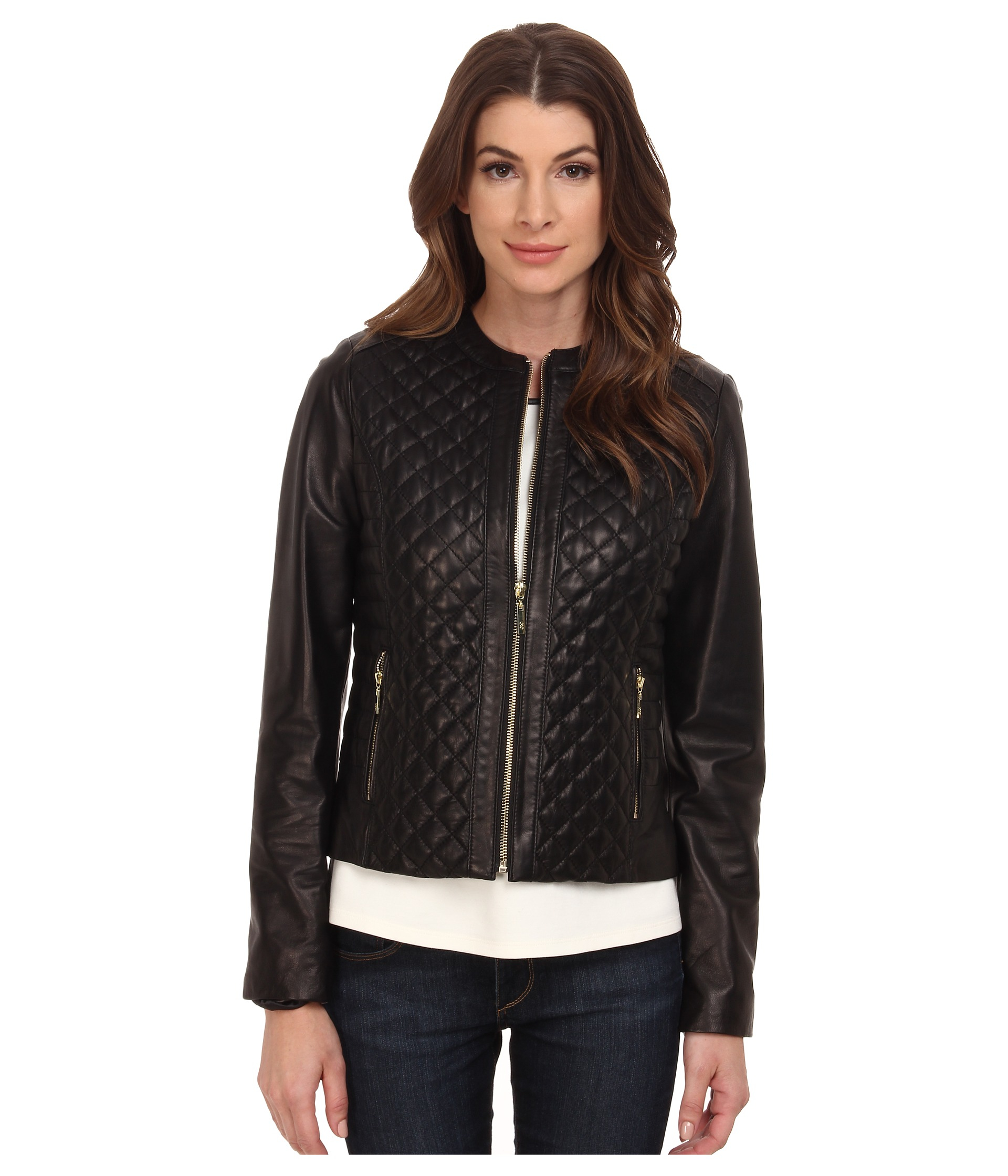 Cole haan Collarless Moto Diamond Quilted Leather Jacket in Black ...