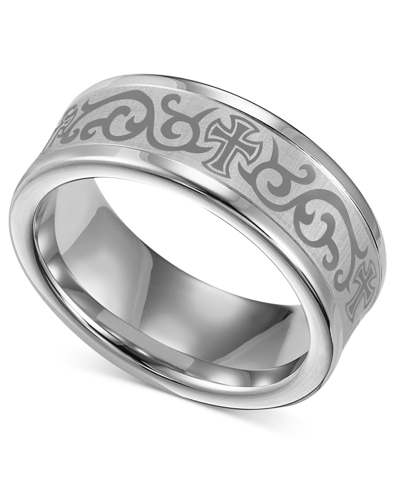 Macy 39 S Men 39 S White Tungsten Ring Laser Detailed Scroll And Cross Wed