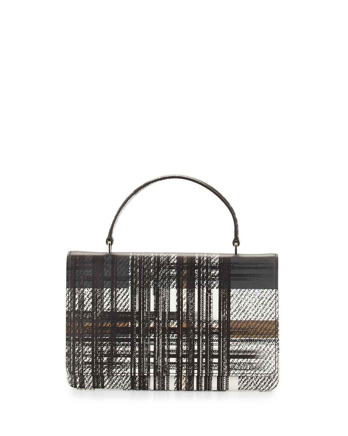 Prada Tartan Plaid Saffiano Top-Handle Bag in White | Lyst