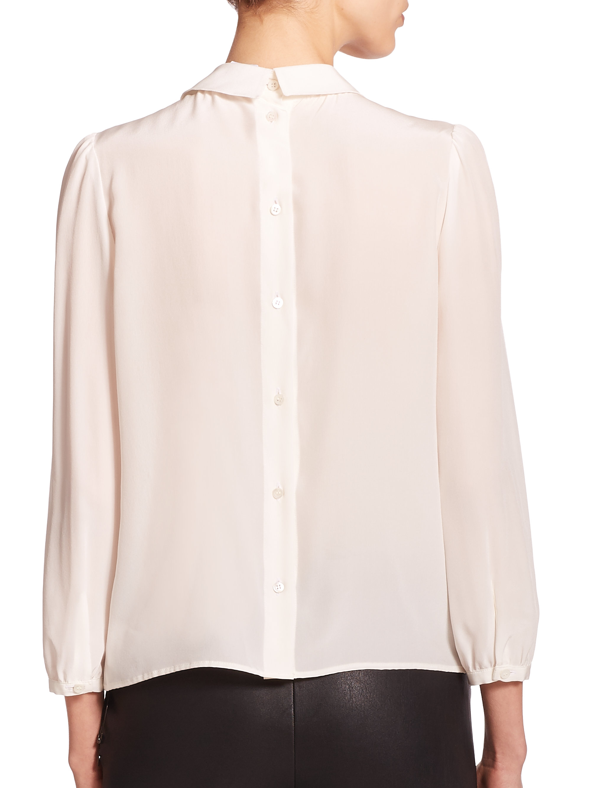 Women'S White Blouse Collar Back Button 113