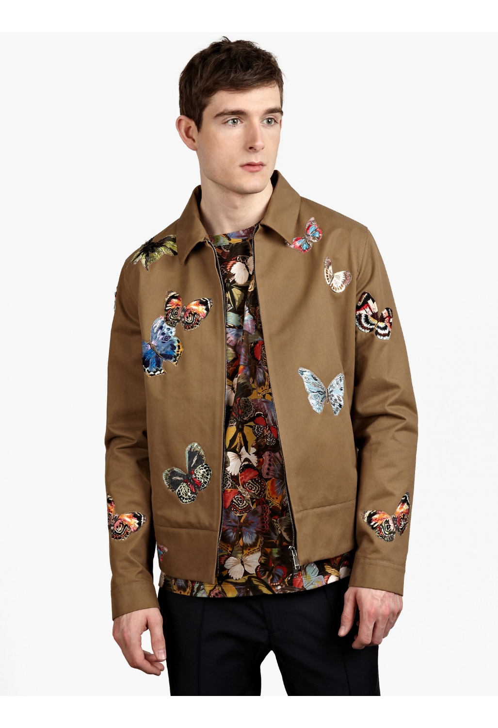 Valentino men s camubutterfly embroidered blouson jacket