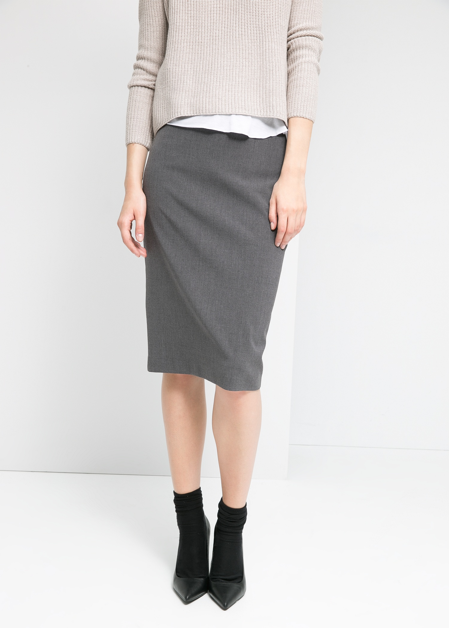 Gray Pencil Skirt - Skirts