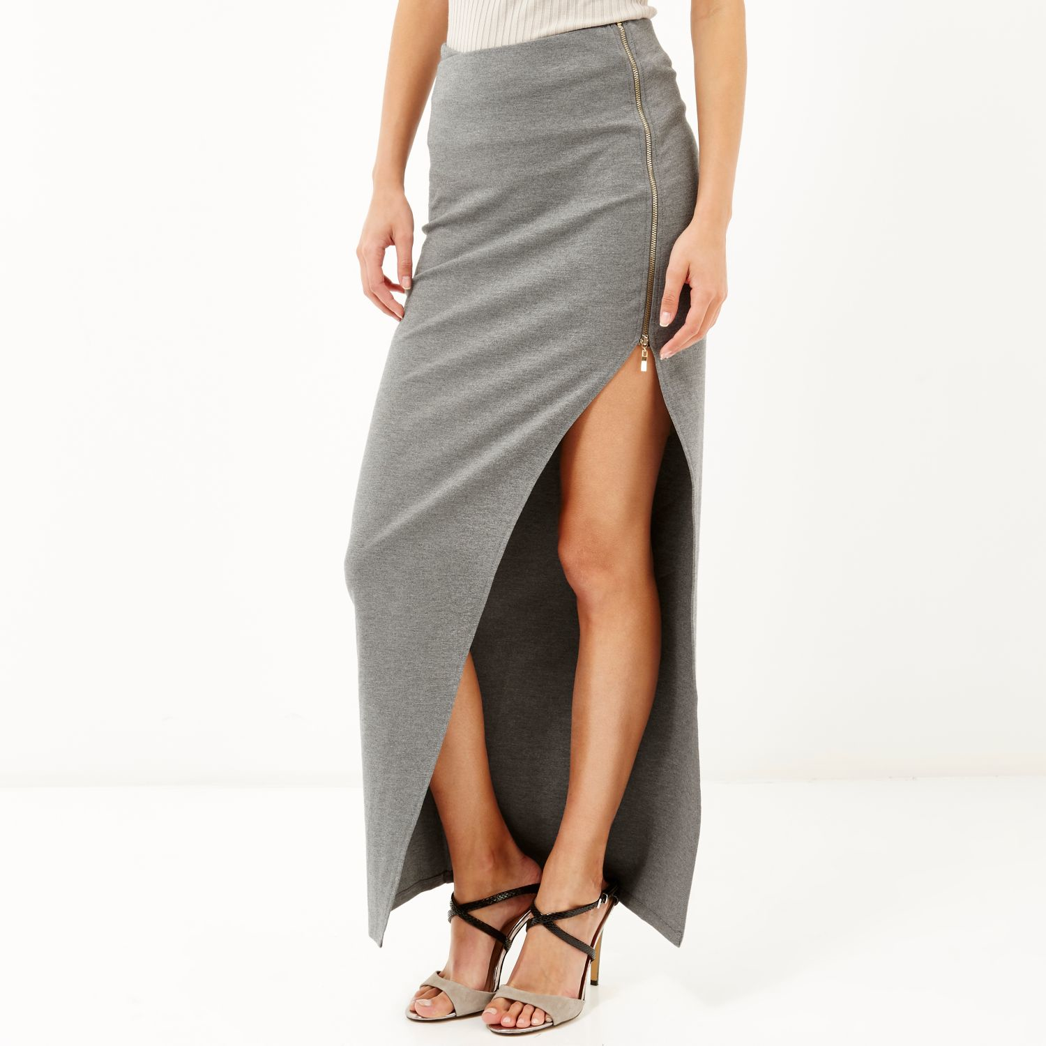 Grey maxi skirt with side split – Modern skirts blog for you