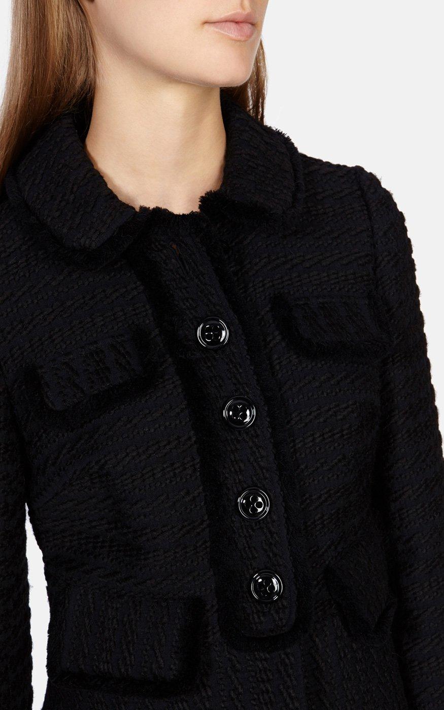 80e830cc8e9da Lyst - Karen Millen Fringed Tweed Jacket in Black