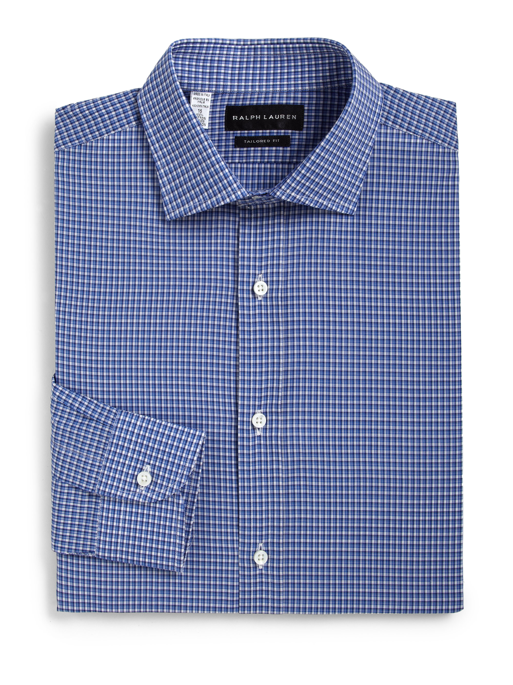Lyst ralph lauren black label tailored fit check dress for Tailored fit dress shirts