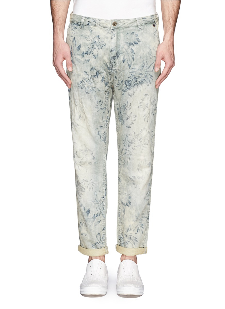 scotch soda baker floral print jeans in blue for men. Black Bedroom Furniture Sets. Home Design Ideas