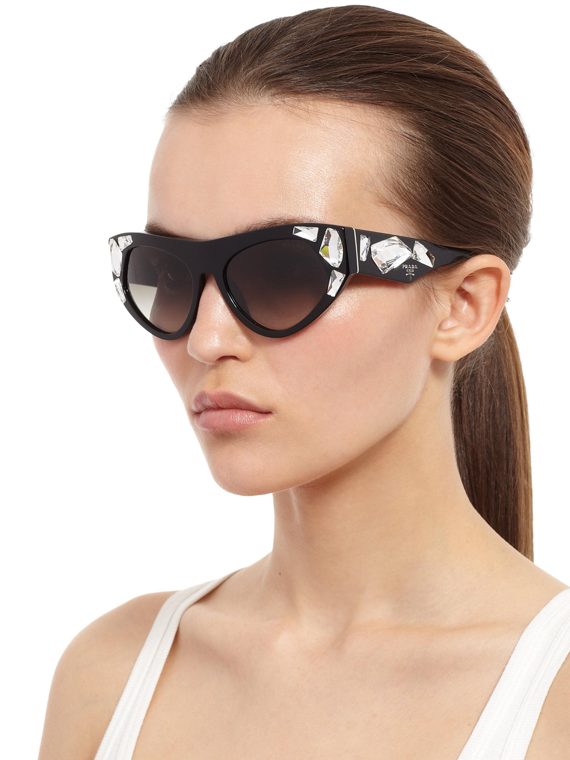 434e700f1d2 ... where to buy lyst prada oversized embellished sunglasses in black 215f6  e81ff cheap prada eyewear cat eye ...