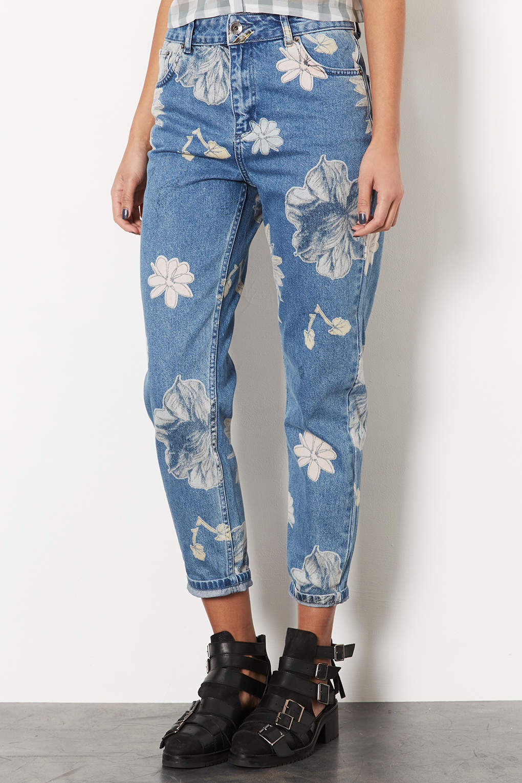 topshop moto floral print mom jeans in gray lyst. Black Bedroom Furniture Sets. Home Design Ideas