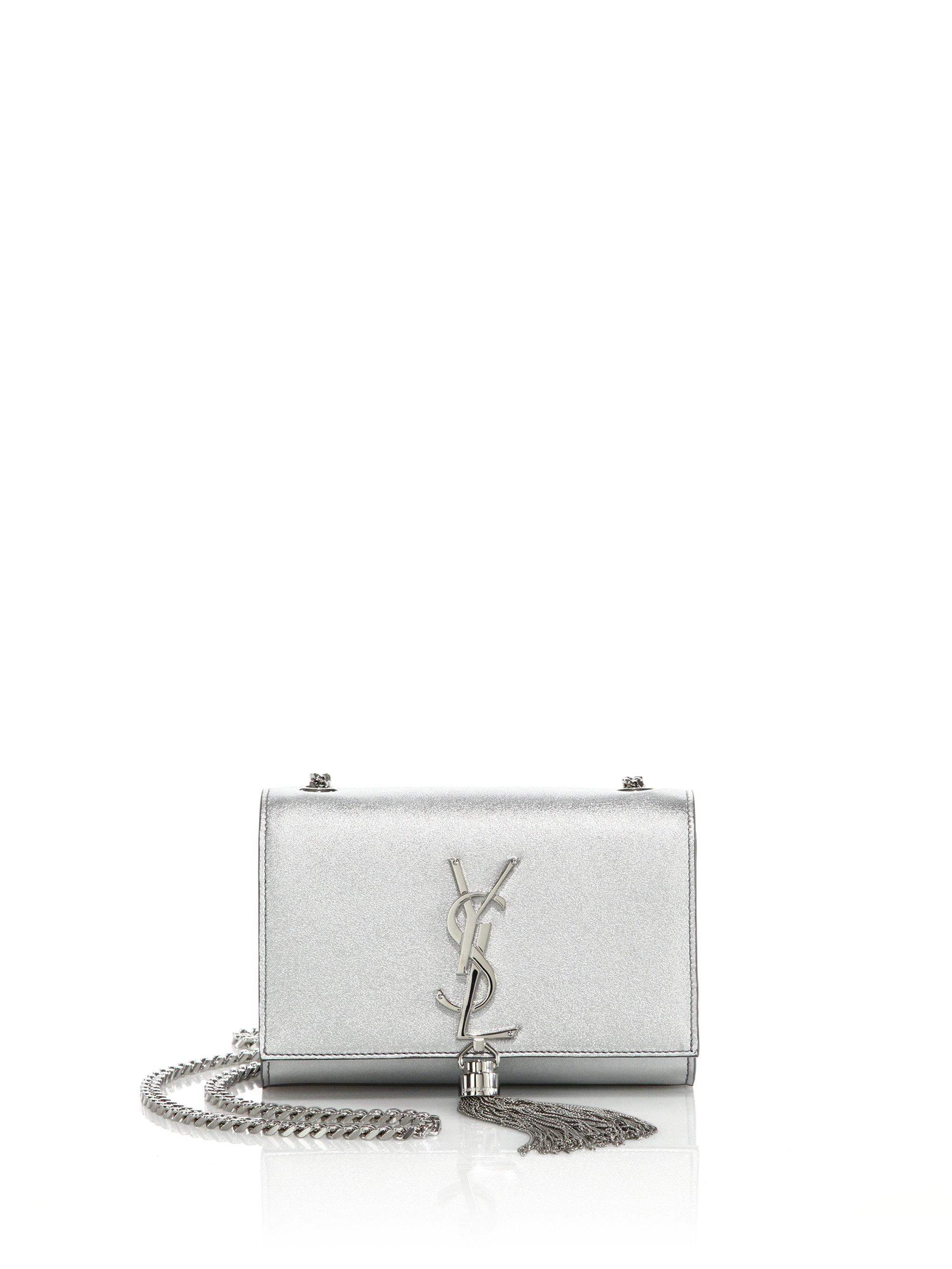5a7733719d93 Lyst - Saint Laurent Monogram Small Metallic Leather Tassel ...