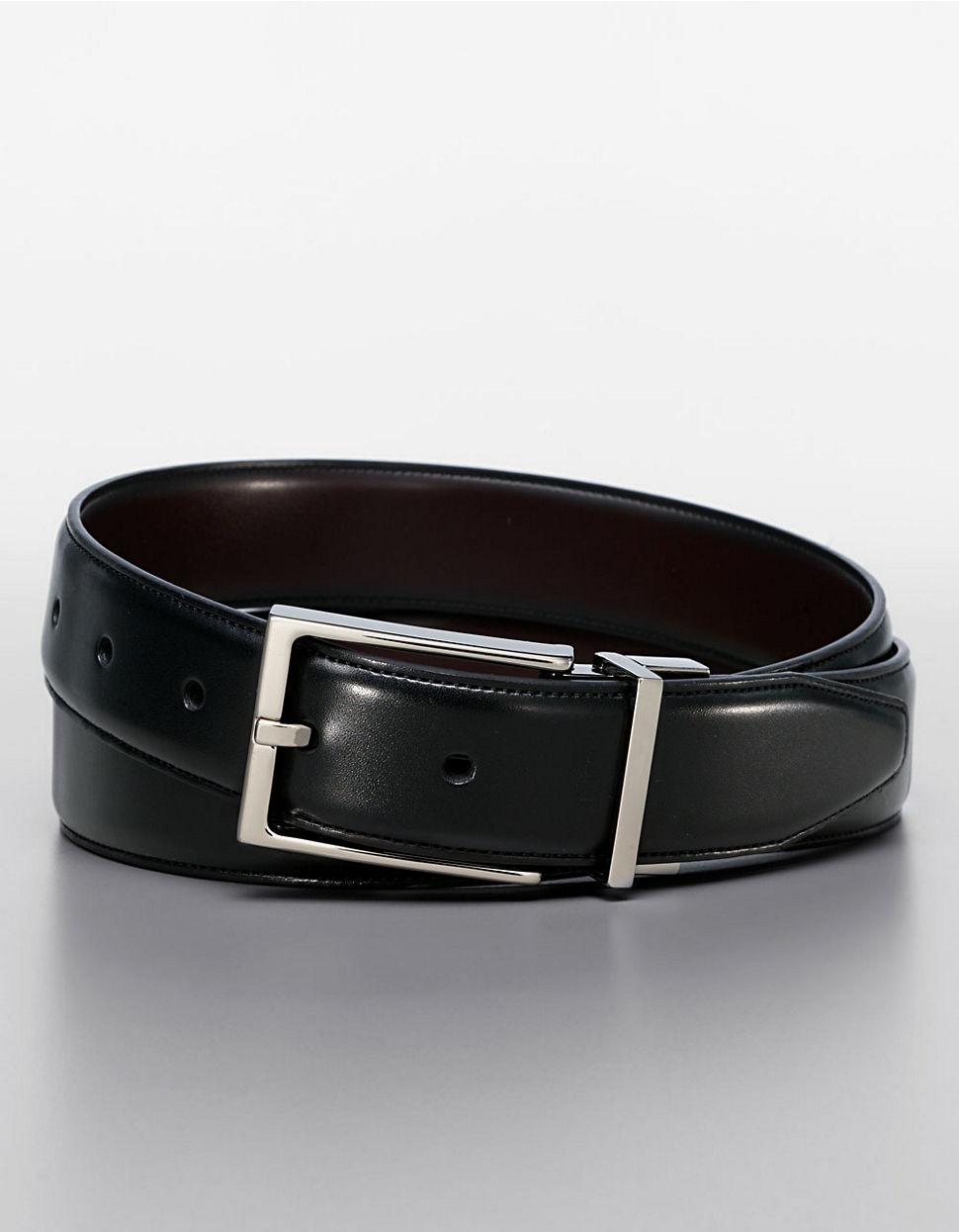 black brown reversible dress belt in black for lyst