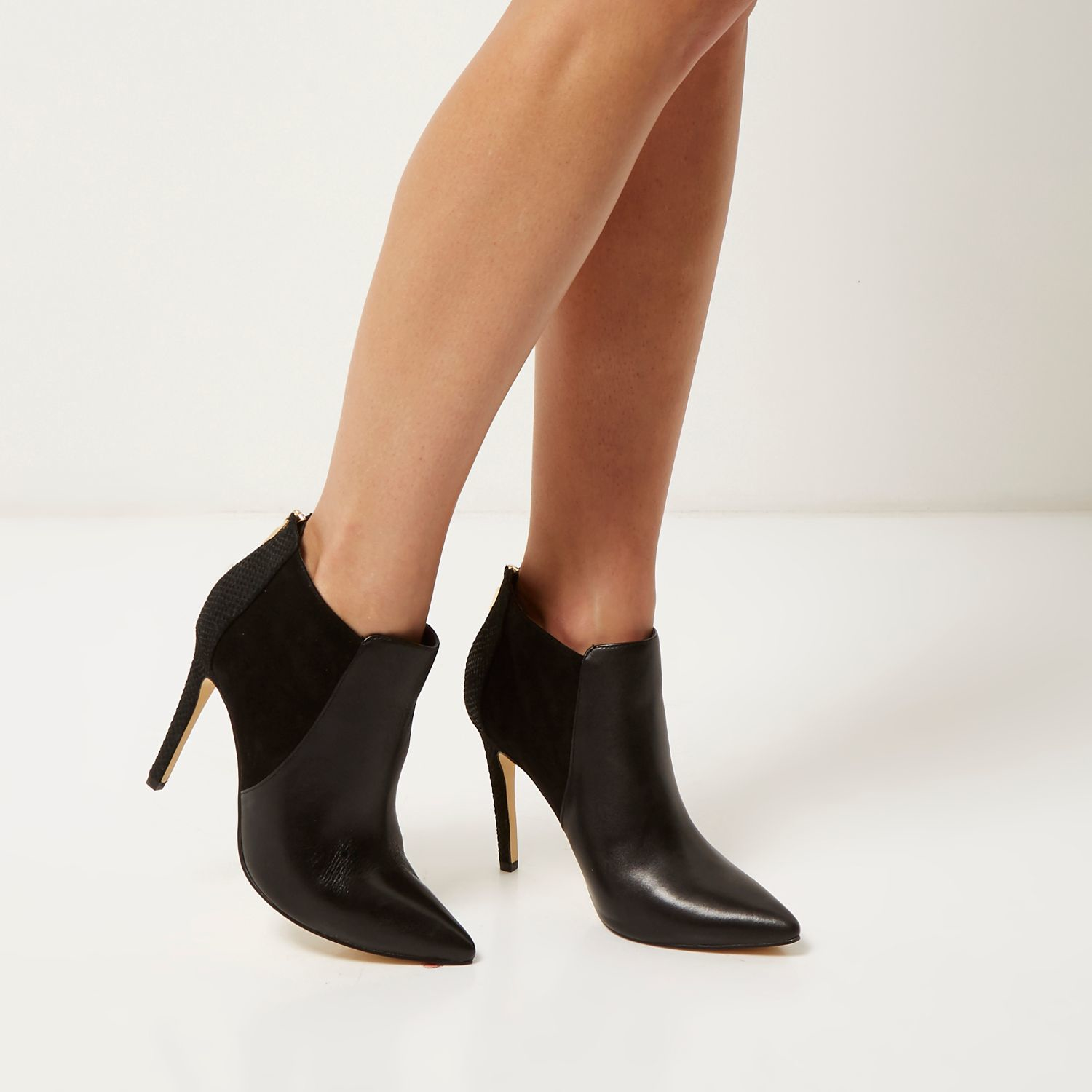 0b8daa2954ee Lyst - River Island Black Leather Pointed Heeled Ankle Boots in Black