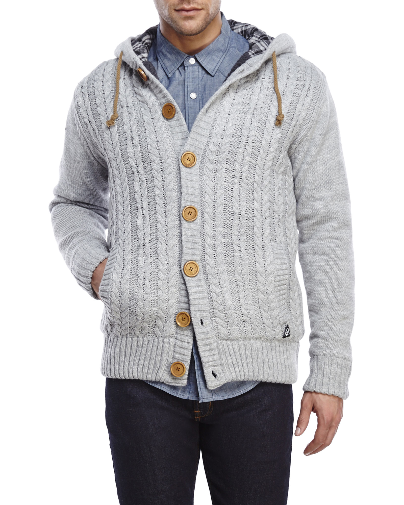 American stitch Red Cable Knit Hooded Cardigan in Gray for Men | Lyst