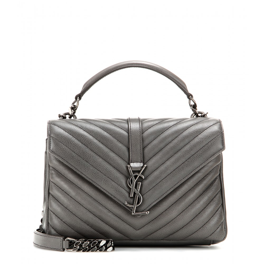 lyst saint laurent classic monogram quilted leather shoulder bag in gray. Black Bedroom Furniture Sets. Home Design Ideas