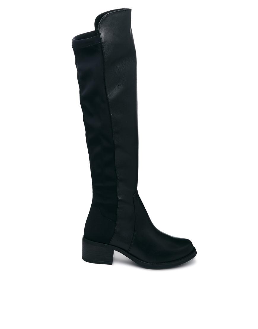 a039ee00717 Aldo Delana Over The Knee Black Leather Boots in Green (Multi)